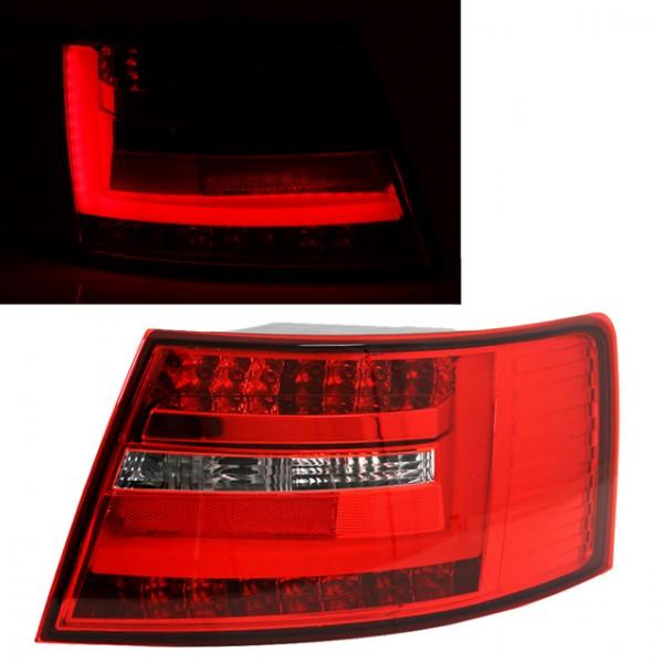 LED Lightbar Rückleuchten Audi A6 4F Limo Bj. 04-08 Rot/Chrom 7-PIN