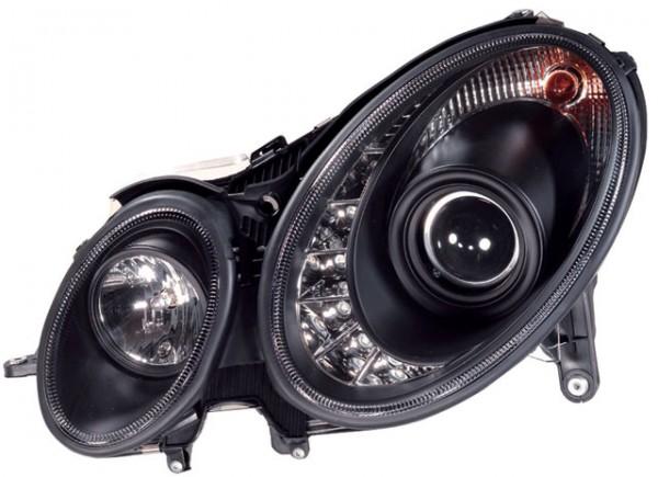 Scheinwerfer Tagfahrlicht Optik Mercedes Benz W211 06-09 Schwarz