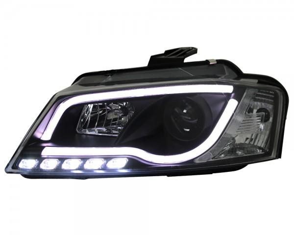 Scheinwerfer Light Tube Audi A3 8P 8PA 08-12 Schwarz DRL LED Tagfahrlicht