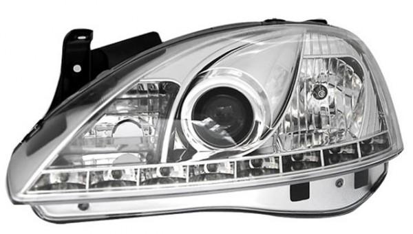 Scheinwerfer Tagfahrlicht Optik Opel Corsa C Bj. 00-06 Chrom