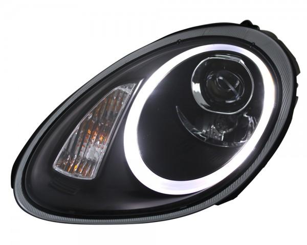 Scheinwerfer Light Tube Porsche Boxster 987 Cayman Schwarz Tagfahrlicht Optik