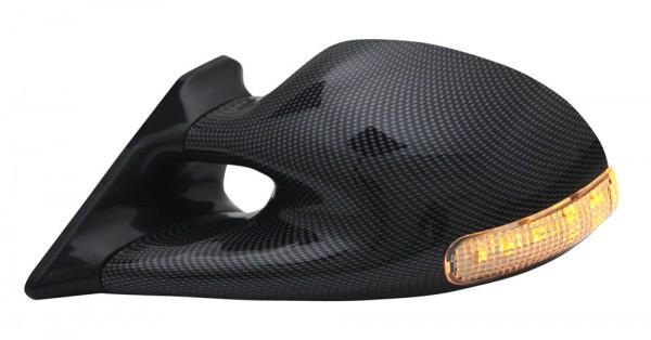 Sport Spiegel Set manuell mit LED Blinker Carbon Optik
