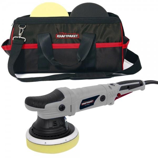 Dino KRAFTPAKET 640213 Exzenter Poliermaschine 21mm Polierhub mit Pads + Tasche