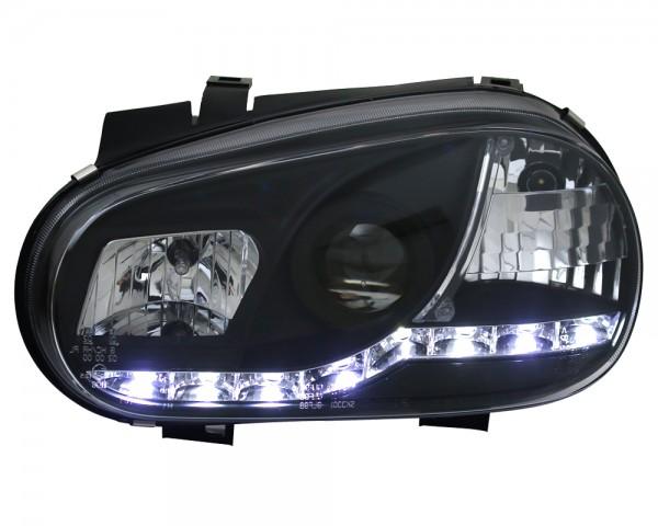 Scheinwerfer Tagfahrlicht Optik für VW Golf 4 Bj. 97-03 Schwarz