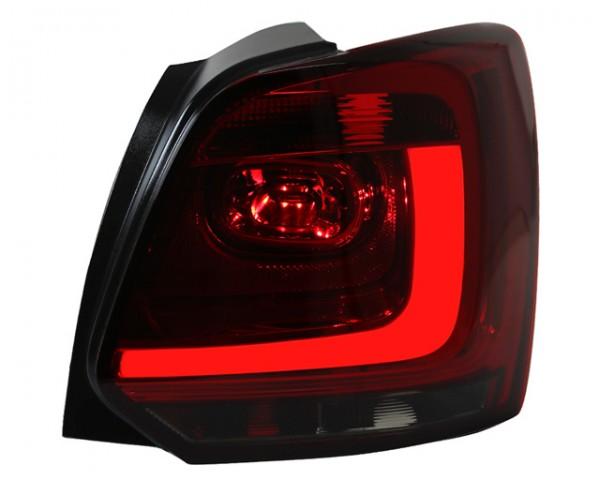 LED Lightbar Rückleuchten für VW Polo 6R Bj. 2009-2014 Dunkelrot/Smoke