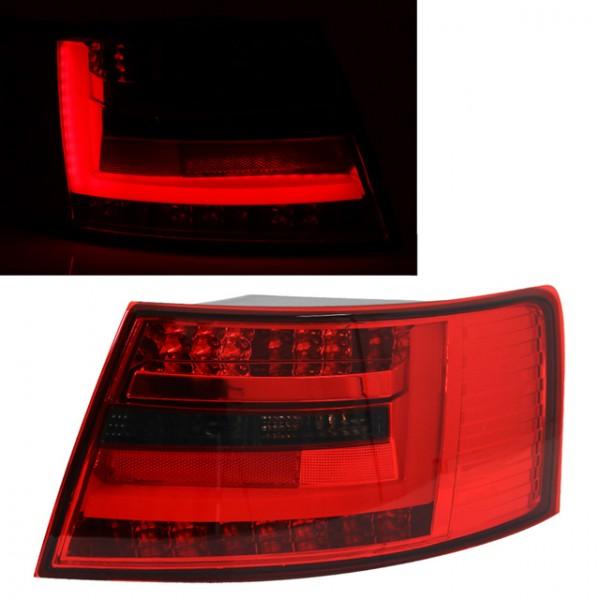 LED Lightbar Rückleuchten für Audi A6 4F Limo Bj. 04-08 Rot/Smoke 7-PIN