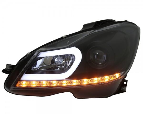 Scheinwerfer Light Tube Mercedes W204 Bj. 2011-2015 Schwarz Tagfahrlicht Optik