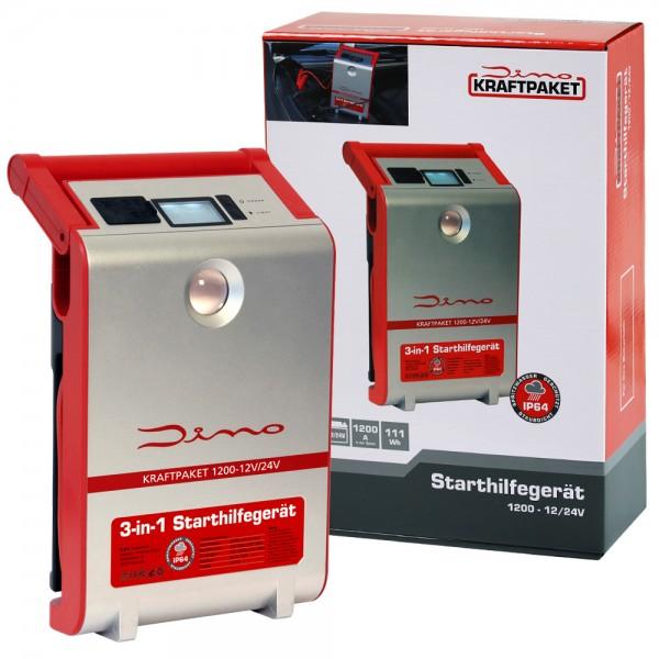 Dino KRAFTPAKET 1200A 12V 24V Mobile Batterie Starthilfe Gerät Schnellstart