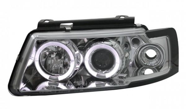 Scheinwerfer Angel Eyes für VW Passat 3B Bj. 96-00 Chrom