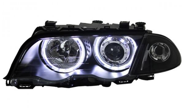 Scheinwerfer LED Angel Eyes BMW E46 Limo Touring Bj. 98-01 Schwarz