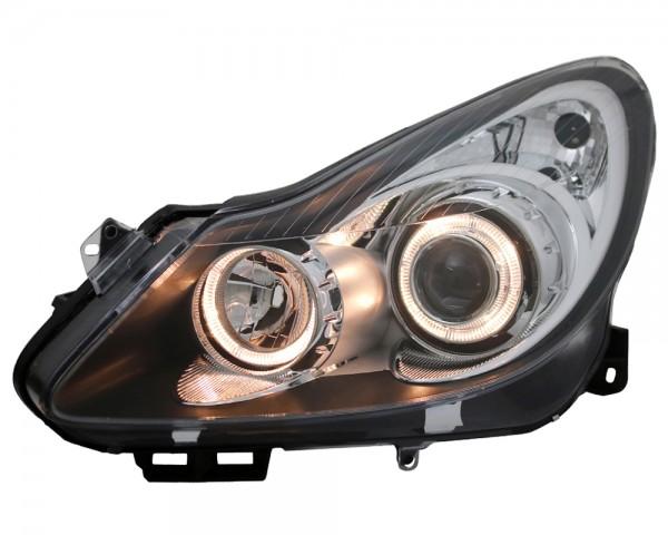 Scheinwerfer Angel Eyes für Opel Corsa D Bj. 06-11 Schwarz