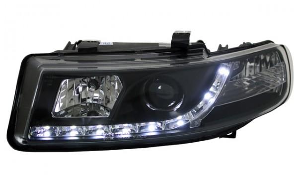 Scheinwerfer Tagfahrlicht Optik für Seat Toledo Bj. 99-04 Schwarz