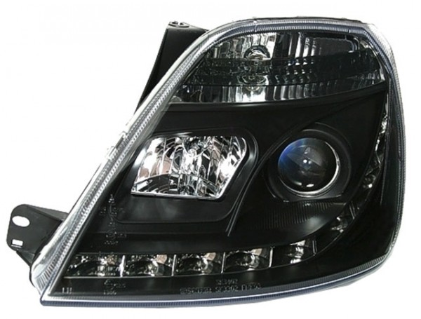 Scheinwerfer Tagfahrlicht Optik Ford Fiesta MK6 02-05 Schwarz