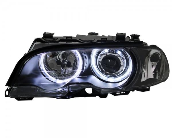 Scheinwerfer LED Angel Eyes für BMW E46 Coupe Cabrio Bj. 1999-2003 Schwarz
