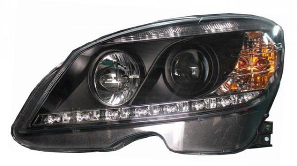 Scheinwerfer Tagfahrlicht Optik für Mercedes Benz W204 Schwarz