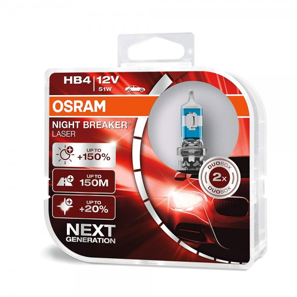 OSRAM Duo Box Night Breaker Laser +150% Next Generation HB4 51W