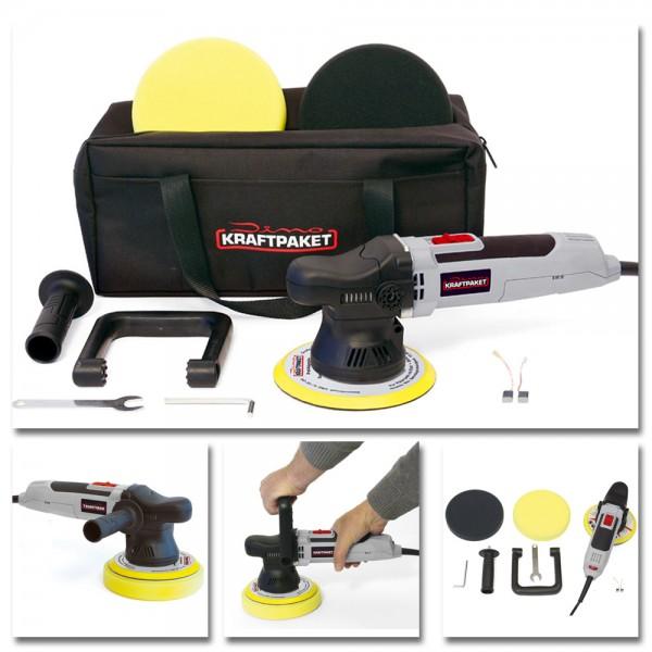 Dino KRAFTPAKET 640220 Exzenter Poliermaschine 9mm Profi Set 1600-6400U/min