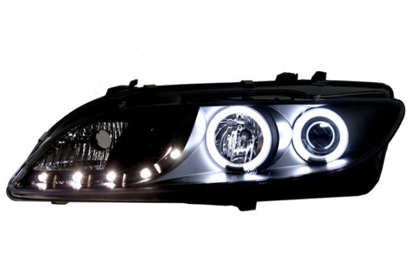 Scheinwerfer Tagfahrlicht Optik für Mazda 6 Bj. 02-08 Schwarz ohne NSW