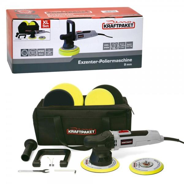 Dino KRAFTPAKET 640296 Exzenter Poliermaschine 9mm 650W Profi XXL Set