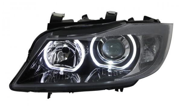Scheinwerfer Angel Eyes BMW E90 E91 Bj. 05-08 Schwarz weiße LED Ringe
