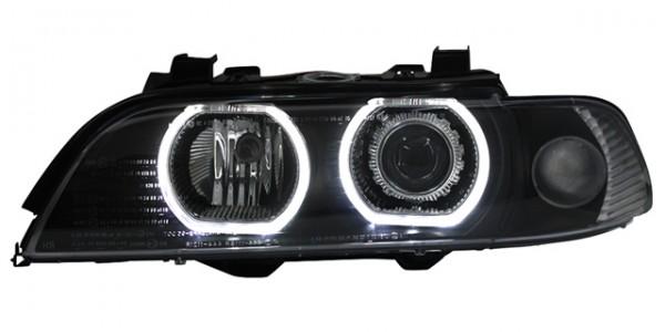 Scheinwerfer Angel Eyes BMW E39 Limo/Touring Bj. 95-00 Schwarz weiße Ringe