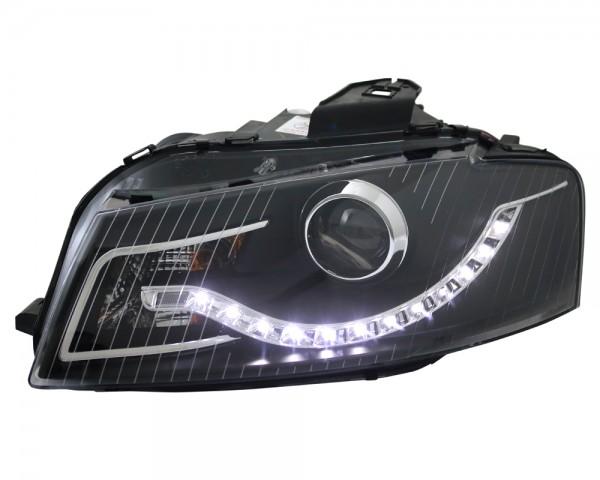 Scheinwerfer Tagfahrlicht Optik für Audi A3 8P Bj. 03-08 Schwarz