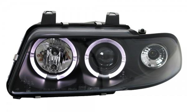 Scheinwerfer Angel Eyes für Audi A4 B5 Bj. 94-98 Schwarz