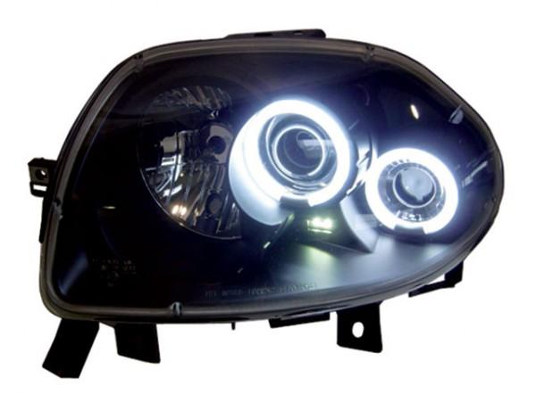 Scheinwerfer Angel Eyes CCFL für Renault Clio 2 Bj. 98-01 Schwarz