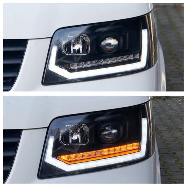 Scheinwerfer LED Tagfahrlicht für VW T5 Bus Bj. 03-09 dynamischer Blinker Schwarz