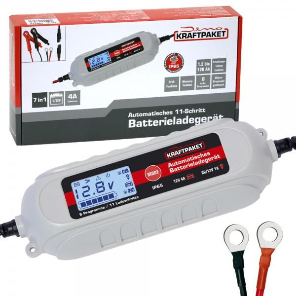 Dino KRAFTPAKET Batterieladegerät mit Ringösenkabel 6V/12V 4A KFZ Auto