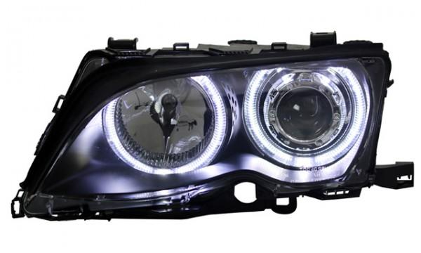 Scheinwerfer LED Angel Eyes BMW E46 Limo Touring Bj. 01-05 Schwarz