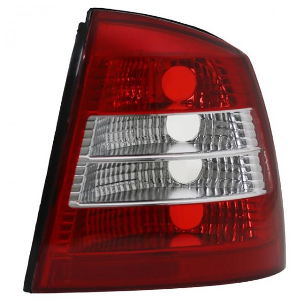 Rückleuchten Klarglas für Opel Astra G Limo Bj. 98-04 Rot/Chrom