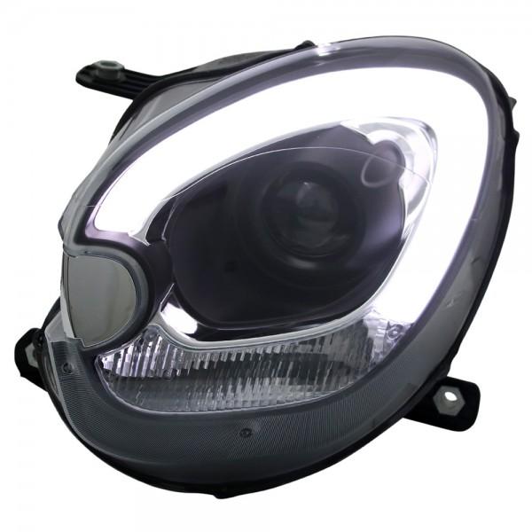 Scheinwerfer Light Tube Mini R60 Countryman Bj. 10-16 Schwarz Tagfahrlicht Optik