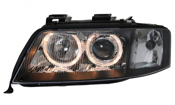 Scheinwerfer Angel Eyes für Audi A6 4B C5 Bj. 97-01 Schwarz